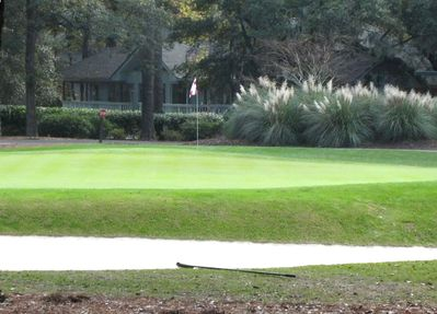 Patio view:  1st green of the famous Harbour Town Golf Links