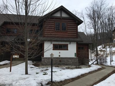 Photo for Creekside Condo w/ private hot tub at Boyne!  Ski-in/Ski-out, Golf, Bike, Swim