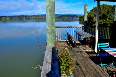 Private deck to relax, BBQ, fish, swim, incl. rustic outdoor bath and shower
