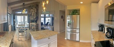 Panorama Photo from Kitchen- View of kitchen, dinning room and living room.