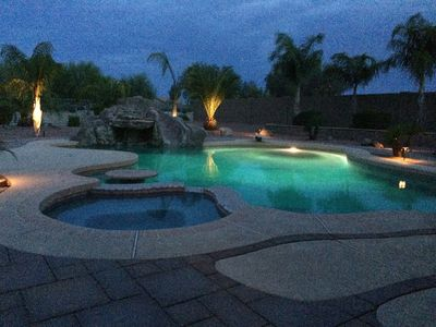 Rare cloudy evening by the pool