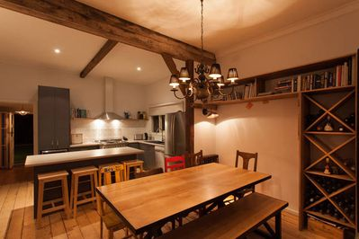 Kitchen, dining seats 10 comfortably