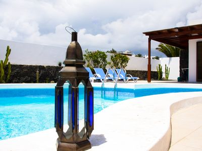 Photo for Newly renovated, top location, Playa Blanca, private pool, sea views, near the beach, WiFi, SAT