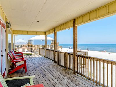 Photo for NEW LISTING! Dog-friendly beachfront home w/spacious deck, amazing Gulf views