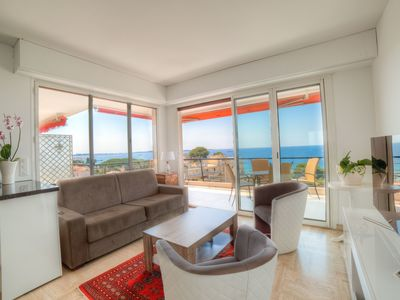 Photo for IMMOGROOM- 4**** Panoramic Sea view- Huge Terrace 3 min from beach/CONGRESS