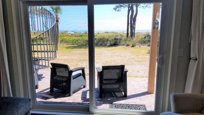 View of the beach from the living room and patio.