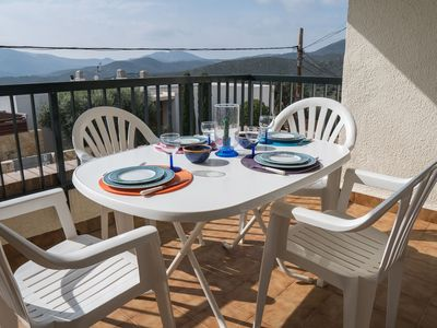 """Photo for Bright apartment overlooking """"Cap de Creus"""". Located in a residential area with swimming p"""