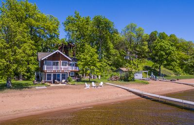 South facing, private dock with boat lift, sand beach, loons, stars and memories