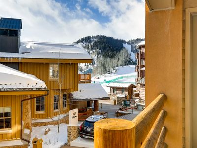 Photo for Ski-in/ski-out mountain condo w/private hot tub & mountain views from balcony
