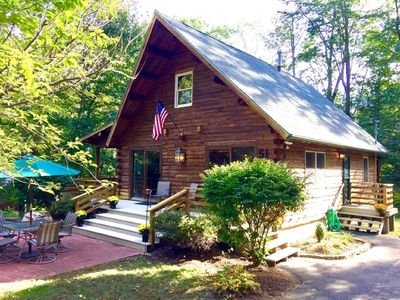 Photo for Luxury Log Home / Meredith - Steps to Private Beach | 3 miles to Church Landing