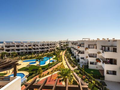 Photo for Large and nice apartment  with communal pool in San Juan de los Terreros, Andalusia, Spain for 4 persons