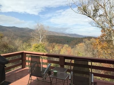 Photo for Gorgeous view of Massanutten Mountains, fireplace, hot tub. Comfort is key.