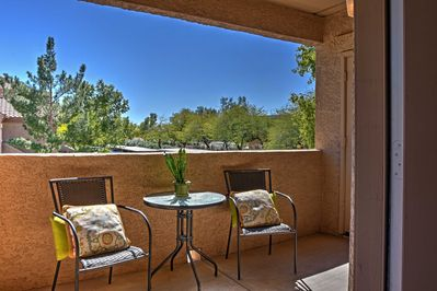 Enjoy a cup of coffee outside on the balcony with views of McDowell Mountains.