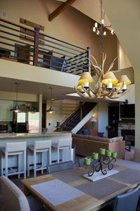 Two levels of living space, with a sleeping loft and the master bedroom upstairs
