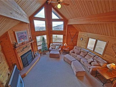 Photo for Gas fireplace, wrap-around porch, and stunning views