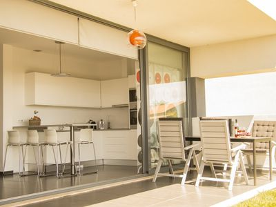 Photo for Modern designer bungalows with sea view on the coast at 45 min. From Lisbon!