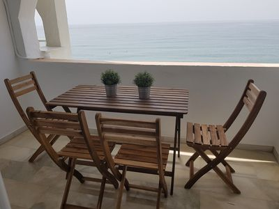 Photo for Spectacular beachfront apartment, furniture and equipment new, 2 double bed.