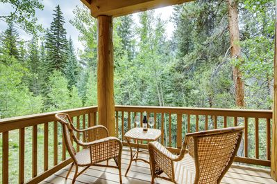 Deck - Get some fresh air out on the back deck, which overlooks a scenic creek and forest.