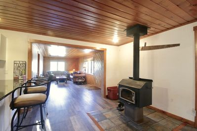 Centrally located wood burning stove