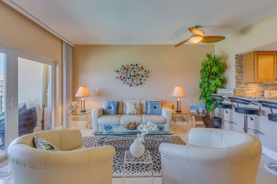 Immaculate living room with Gulf view