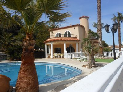 Photo for Detached villa for 14 people, private pool, located in Las Tres Calas