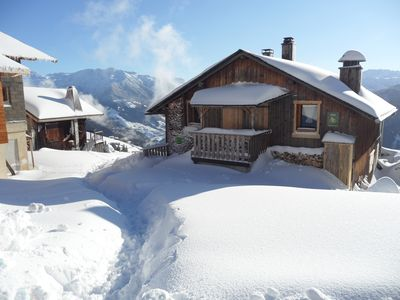 Photo for Rustic chalet on the slopes, exceptional view of Mont Blanc