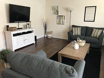 Main living space with HD Television, Roku TV with DirecTV NOW access