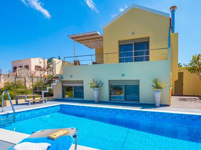 Photo for Villa Litsa: Large Private Pool, Sea Views, A/C, WiFi