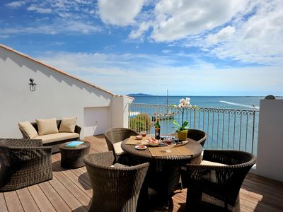Photo for Breathtaking sea views from large private rooftop terrace at Port Rive Gauche