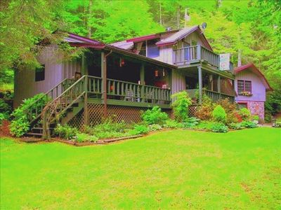 Photo for Mountain Cabin with waterfall and rushing water  in front yard with WIFI.