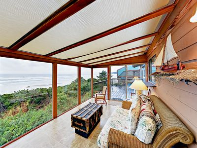 Photo for Panoramic Water Views at 3BR Oceanfront House w/ Fireplace, Sun Room & Deck