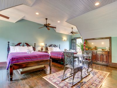 Riverfront home w/ shared pool, private hot tub, gorgeous views, & balcony