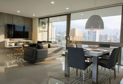 Enjoy in style the gorgeous views of the city and your new 70 inch 4kTV & cable