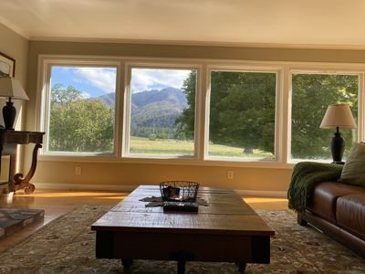 View from one sofa of Hood Mountain and vineyards.