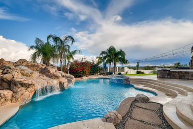 Extra large pool with slide, waterfall and cove