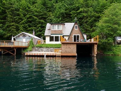 View of our cabin from the lake.