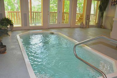 Private indoor pool located in cabin for guests to use.