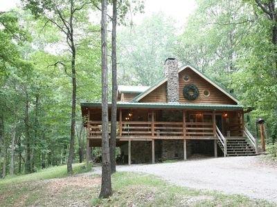 Photo for 2 story log cabin on 50 acres. Large fireplace, hot tub, covered porch.