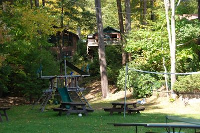 Private Steps to Cabin from Beach and Lawn Area