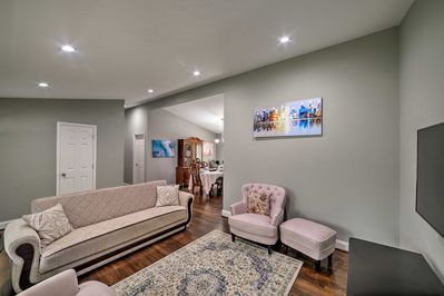 There are 3 bedrooms, 2 bathrooms, a sleeper sofa, and space for 8.