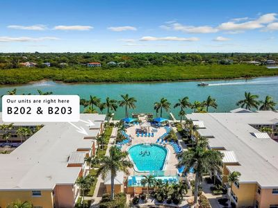 Photo for Beautiful Poolside and Water view Barefoot Beach condo - B203 - remodelled