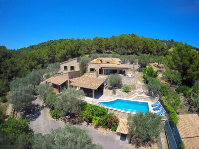 Photo for Idyllic finca of 26. 000 m² for 10 people with pool and sea views