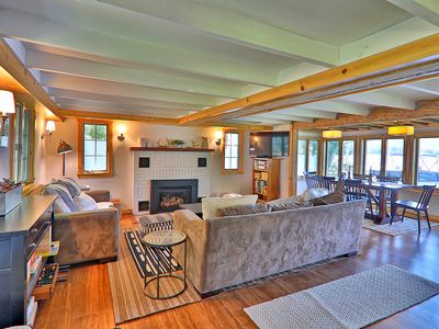 Photo for Modern/Classic Lake Cottage. Waterfront with dock on Lake Rescue & Free WIFI