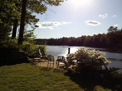 Enjoy long days & gorgeous sunsets on this spacious property w/150ft waterfront!