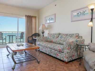 Photo for Gulf front getaway w/ panoramic beach views & a shared, heated pool