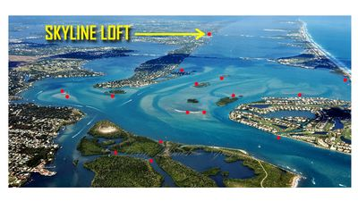 Aerial photo showing loft location and main places we go by boat