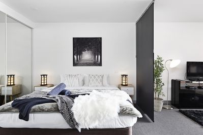 Stylish Bedroom with King bed