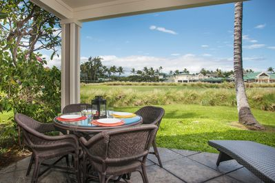 View - The private lanai offers al fresco dining and a chaise lounge chair.