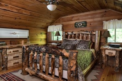 Upstairs bedroom 1:  one queen bed with beautiful Aspen log funiture