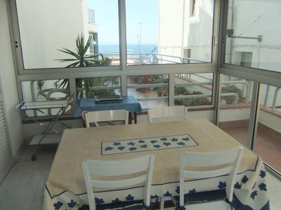 Photo for Apartment Edith in Roses center, seaview, in front of the beach - WIFI - Parking
